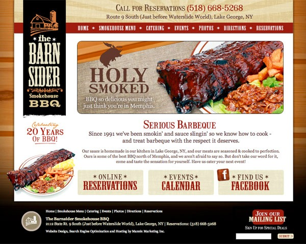 Barnsider Smokehouse BBQ Website Design and Development