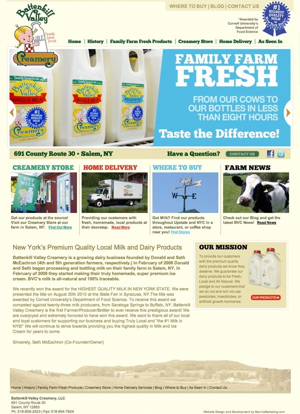 Battenkill Valley Creamery Website Design and Development
