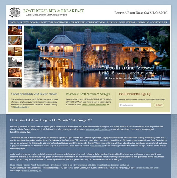 Boathouse Bed and Breakfast Website Design and Development