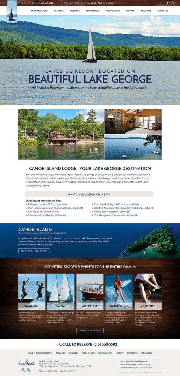 Canoe Island Lodge Website Design and Development