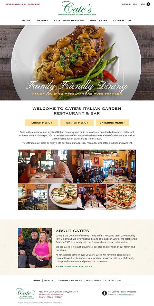 Cate's Italian Garden Restaurant and Bar Website Design and Development