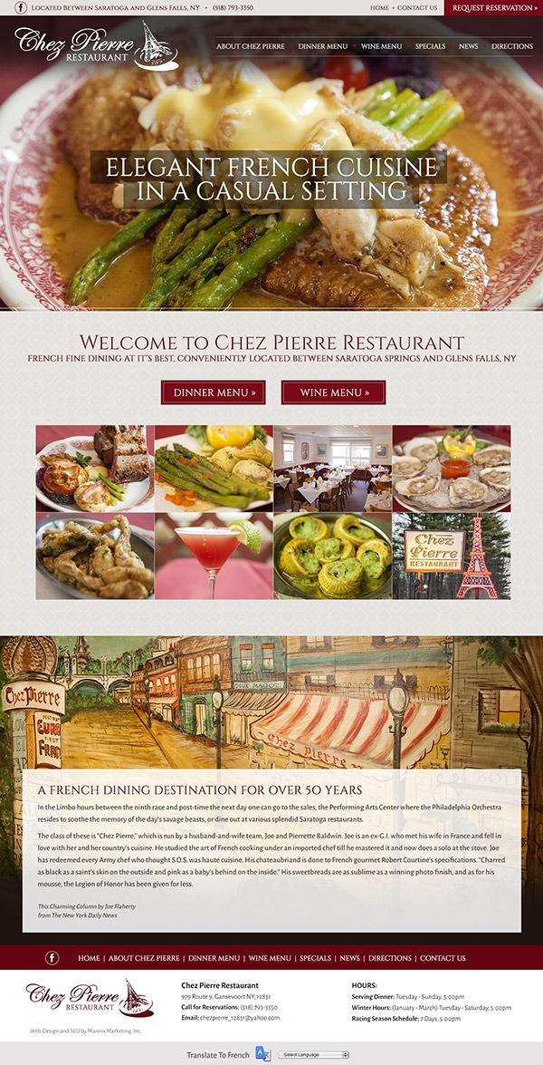 Chez Pierre Restaurant Website Design and Development