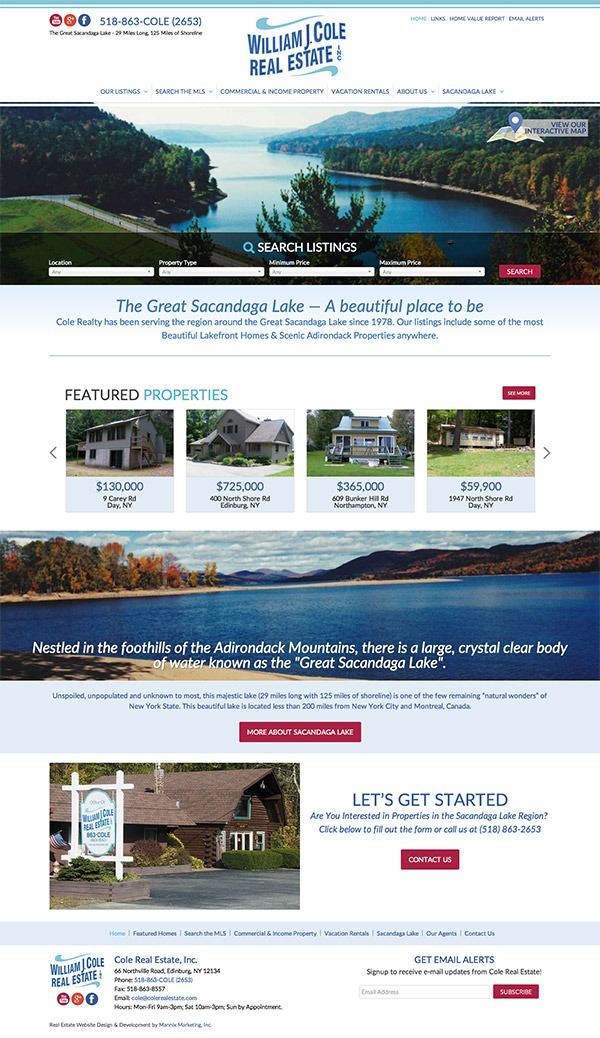 Cole Real Estate Website Design and Development