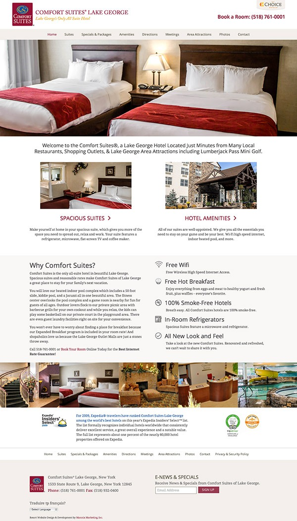 Comfort Suites Lake George Website Design and Development