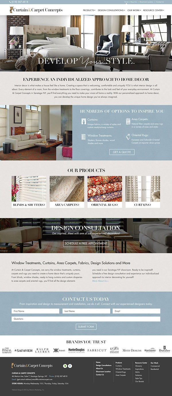 Curtain and Carpet Concepts Website Design and Development