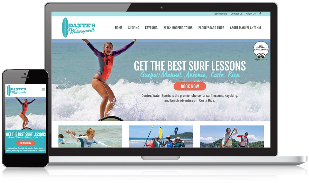 Dante's Watersports Responsive Website Design
