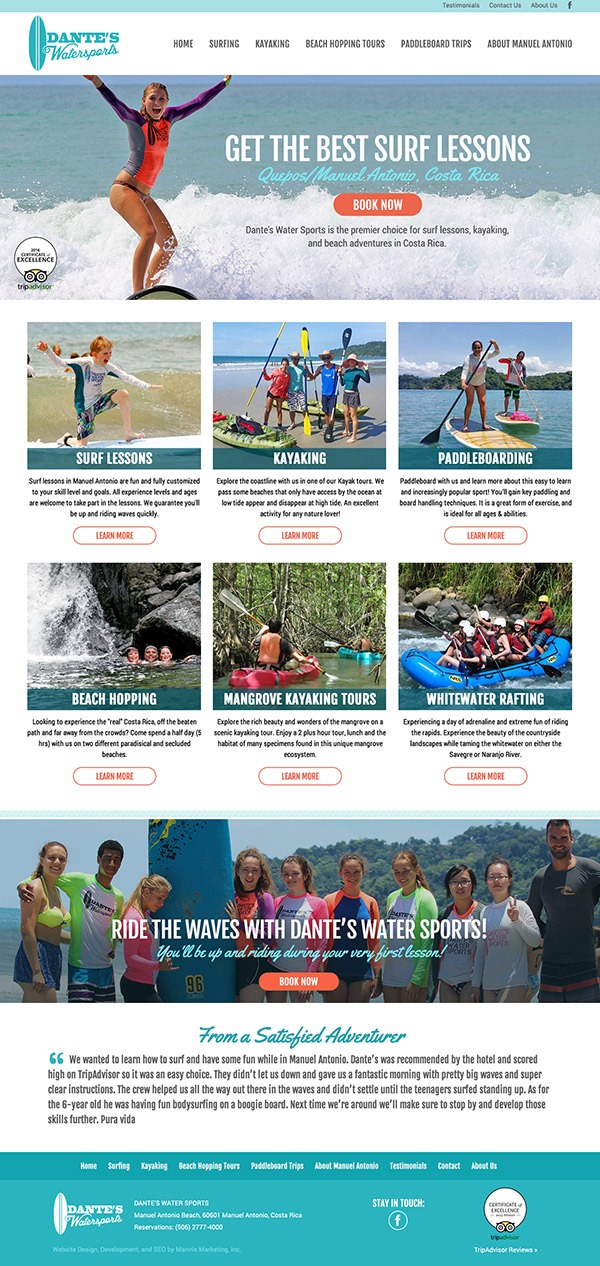Dante's Water Sports website design and development