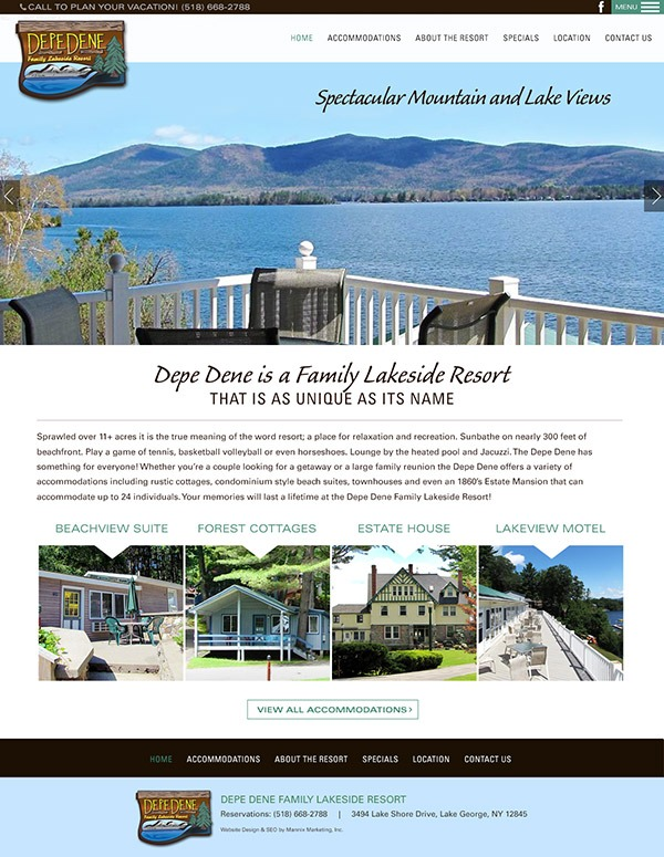 Depe Dene Resort Website Design and Development