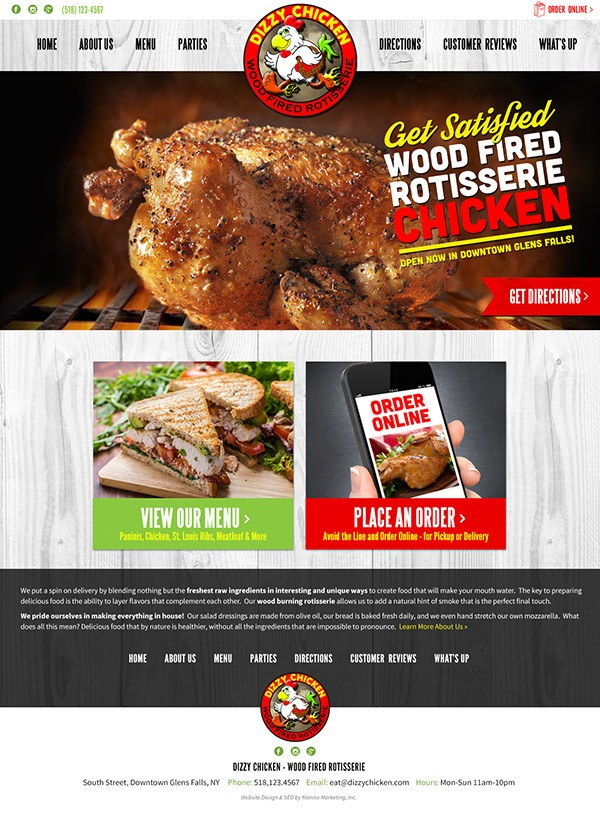 Dizzy Chicken Website Design and Development