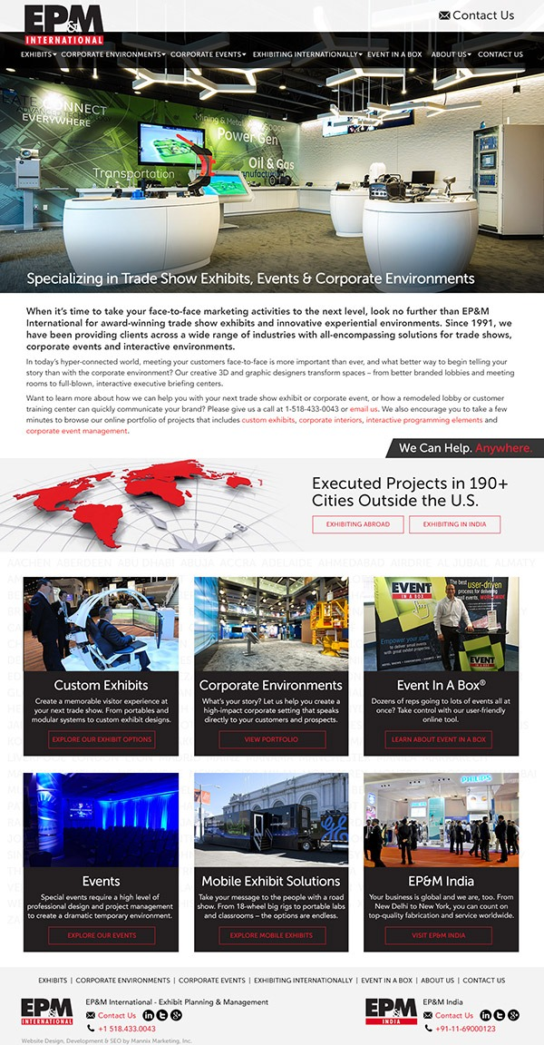 Exhibit Planning and Management International Website Design and Development