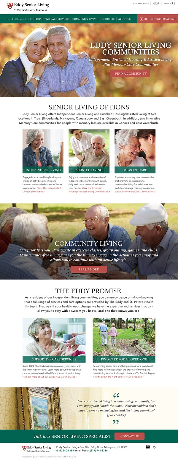 Eddy Senior Living Website Design and Development