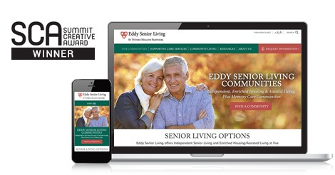 Eddy Senior Living Communities Website Design Summit Creative Award Winner
