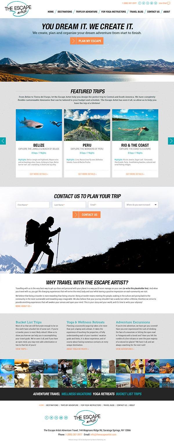 Escape Artist Travel Adventure Website Design and Development