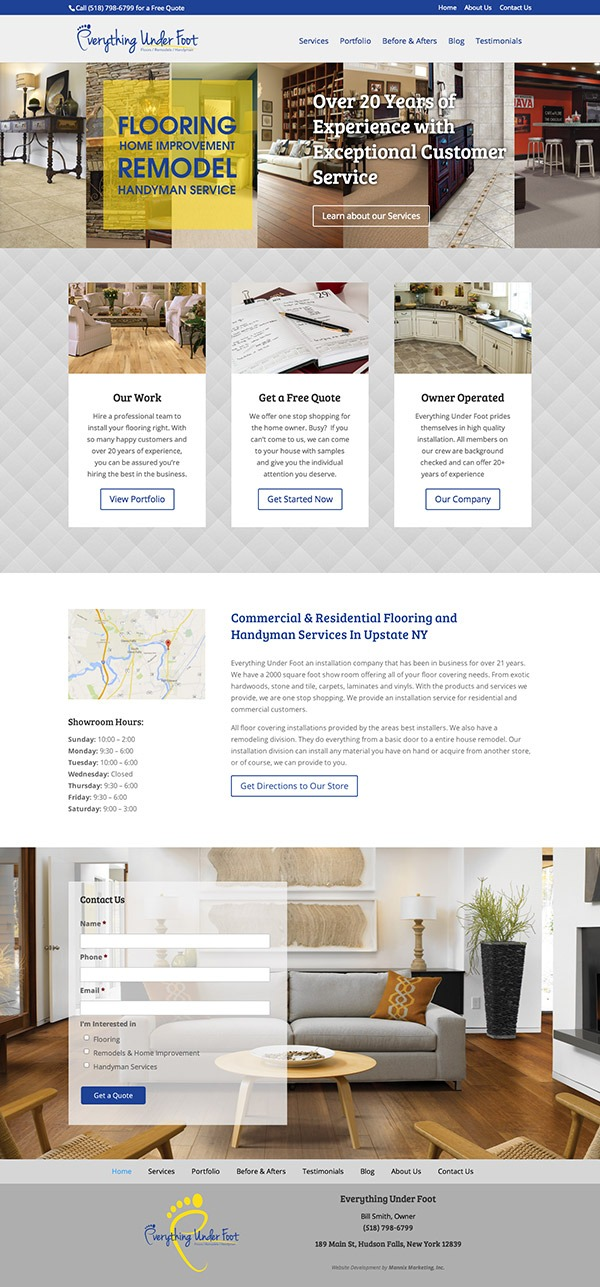Everything Under Foot Website Design and Development