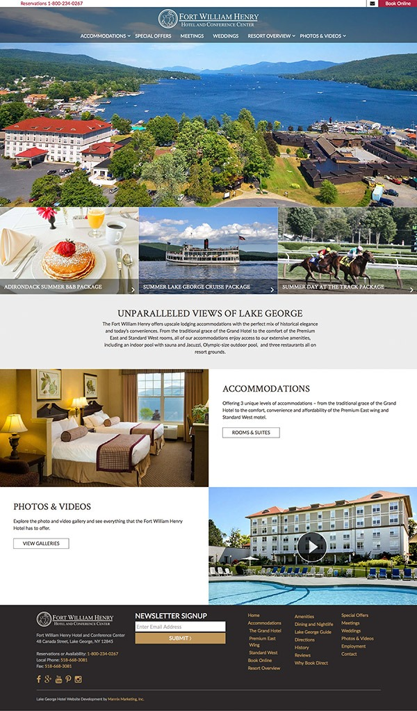 Fort William Henry Hotel and Conference Center Website Design and Development