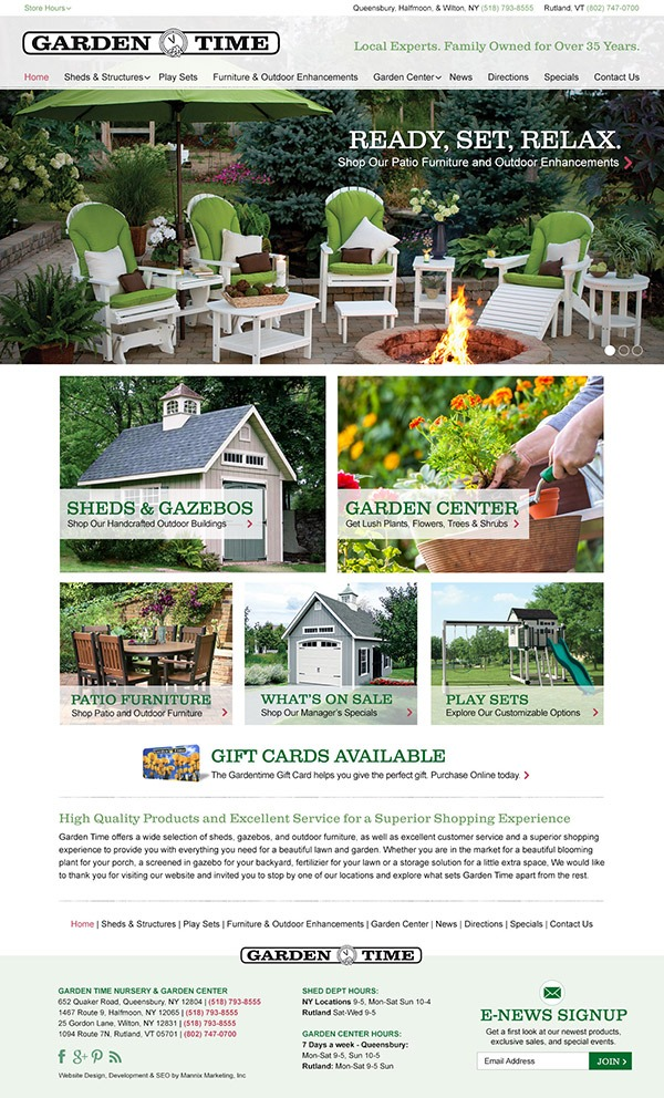 Garden Time Website Design and Development