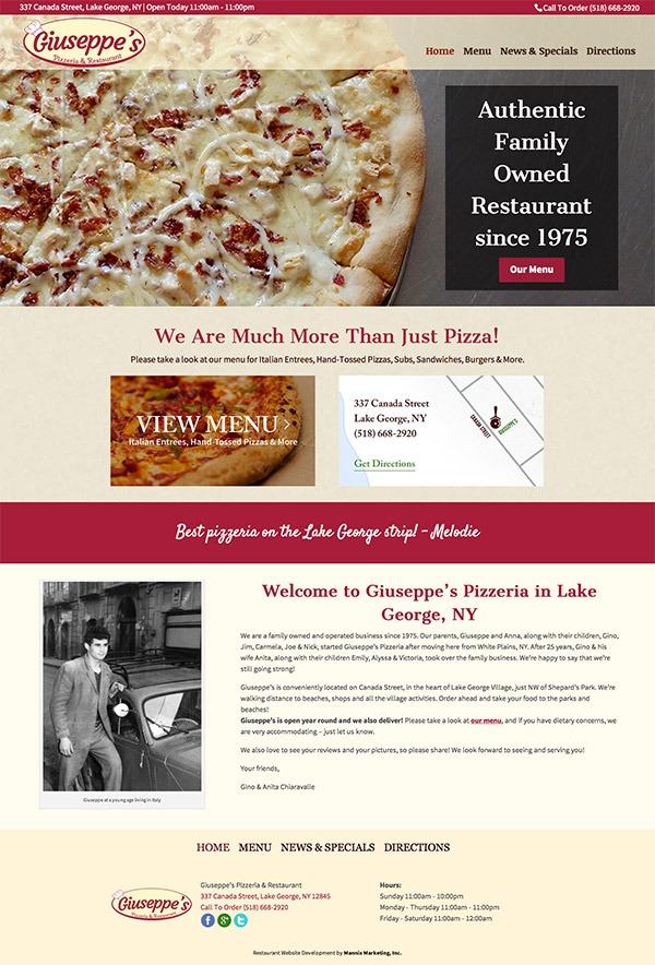 Guisseppes Pizzeria and Restaurant Website Design and Development