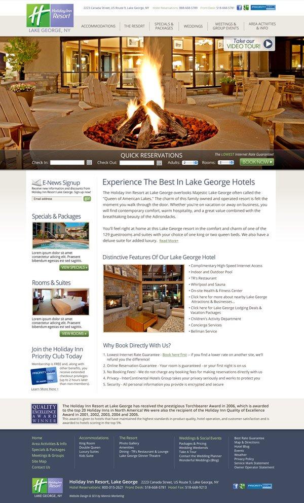 Holiday Inn Resort Lake George Website Design and Development