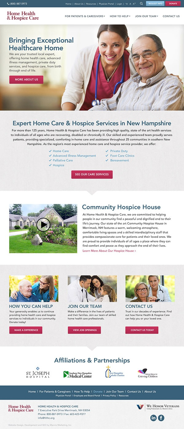 Website Design and Development for Home Health and Hospice Care