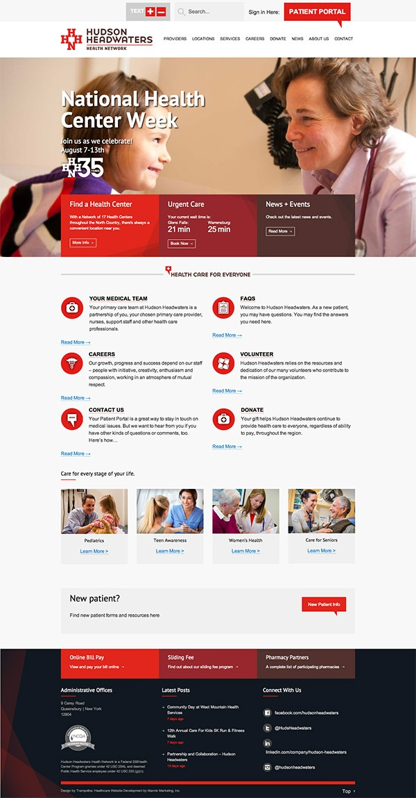 Hudson Headwaters Health Network Website Design and Development