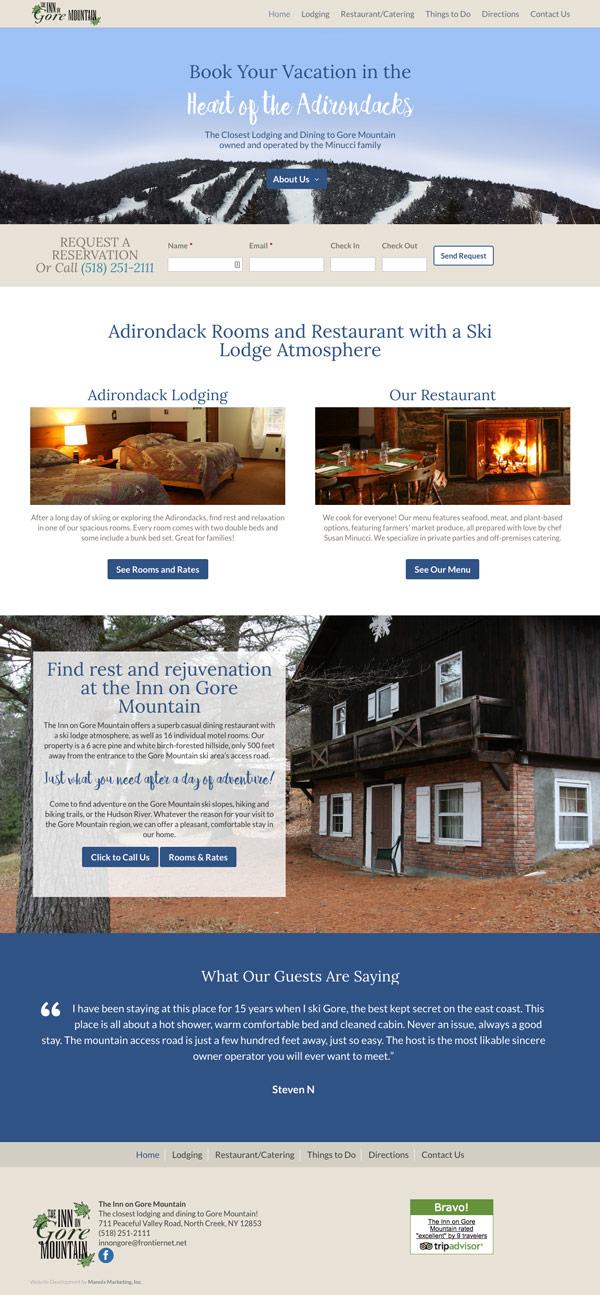 Inn on Gore Mountain Website Design and Development