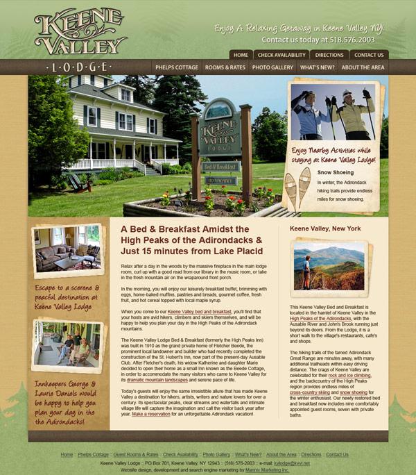 Keene Valley Lodge Website Design and Development