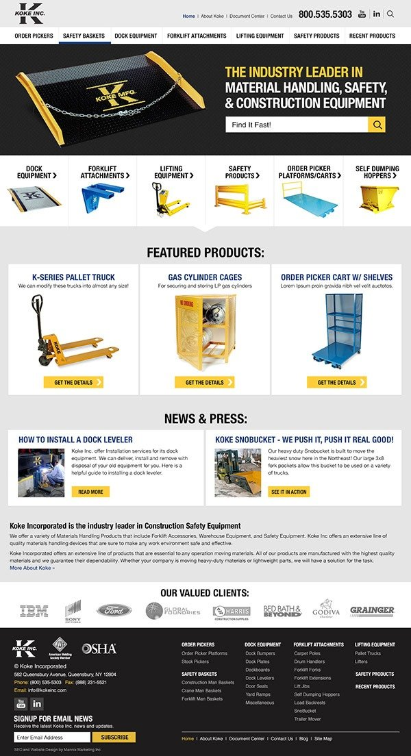 Koke Inc. Website Design and Development