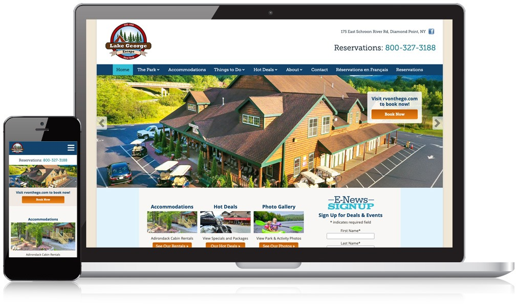 Laptop & Mobile Screens Of Lake George Escapes