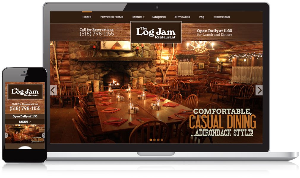 The Log Jam Restaurant Responsive Website Design