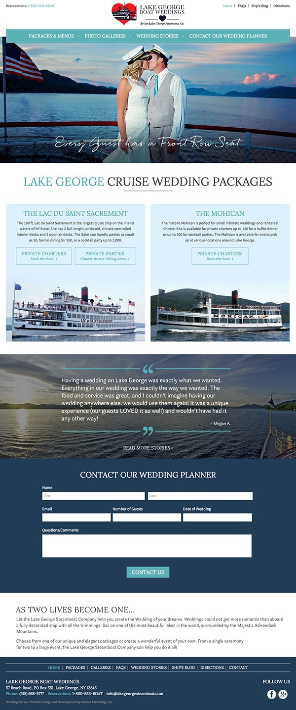 Lake George Boat Weddings Website Design and Development