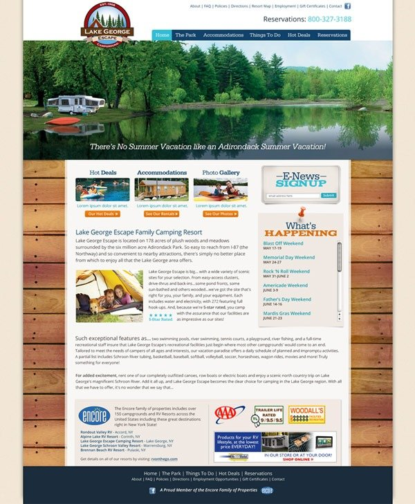 Lake George Escape Campgrounds Website Design and Development