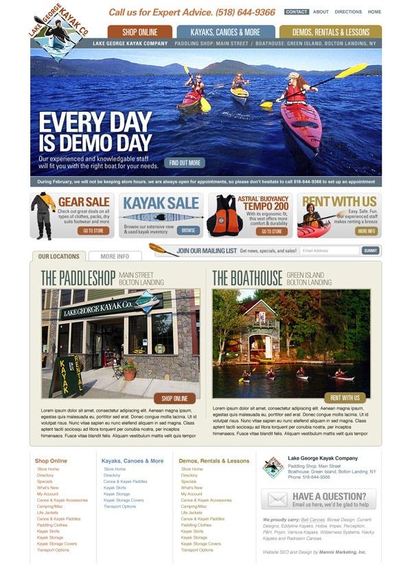 Lake George Kayak Website Design and Development