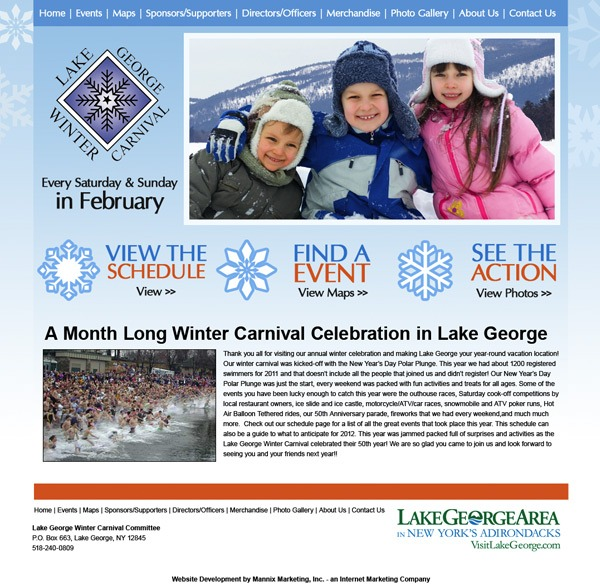 Lake George Winter Carnival Website Design and Development
