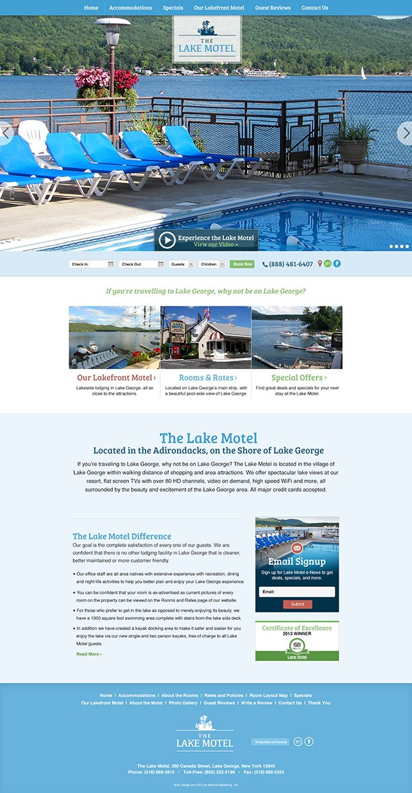 Lake George Lake Motel Website Design and Development