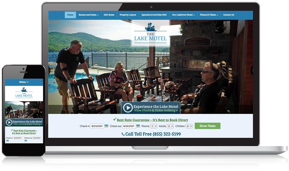 Laptop & Mobile Screens Of The Lake George Lake Motel