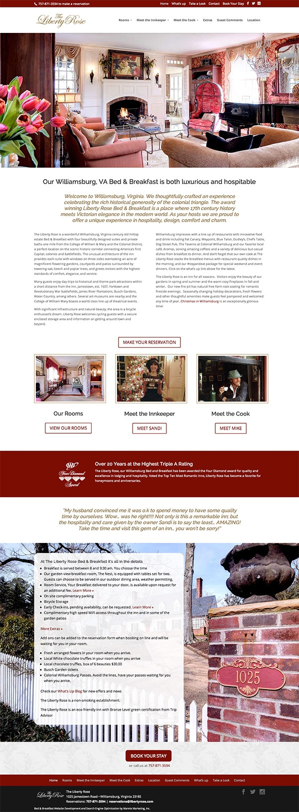 Liberty Rose Bed and Breakfast Website Design and Development