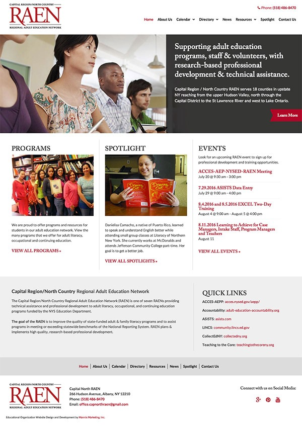 Capital Region / North Country Regional Adult Education Network Website Design and Development