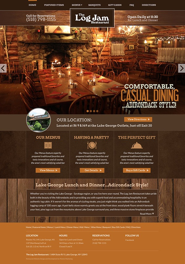 Log Jam Restaurant Website Design and Development