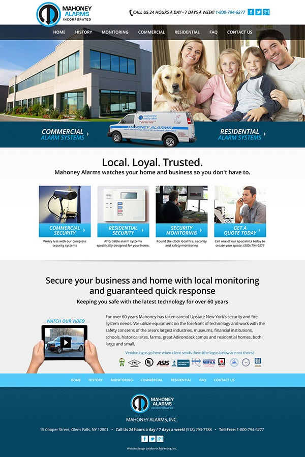 Mahoney Alarms Website Design and Development