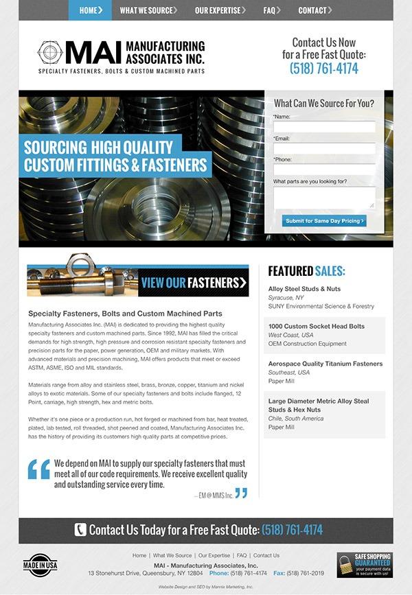 Manufacturing Associates Inc. Website Design and Development