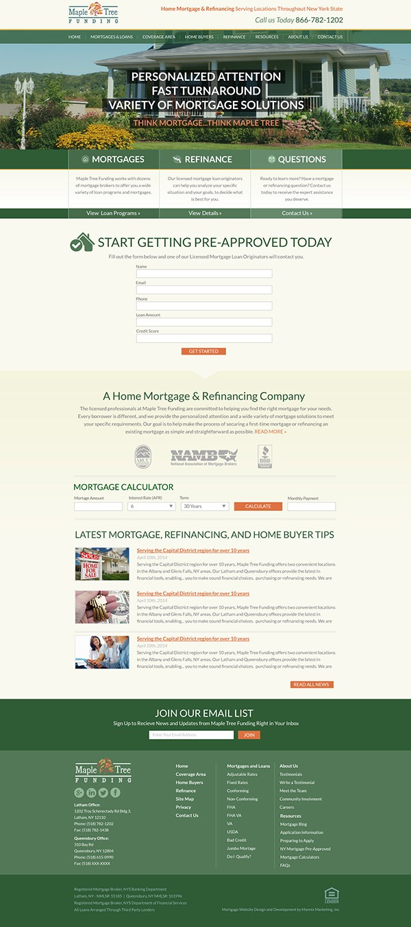 Maple Tree Funding Website Design and Development