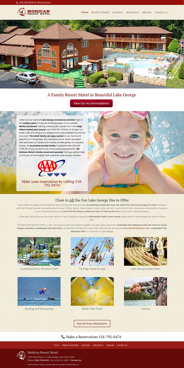 Mohican Resort Motel Website Design and Development