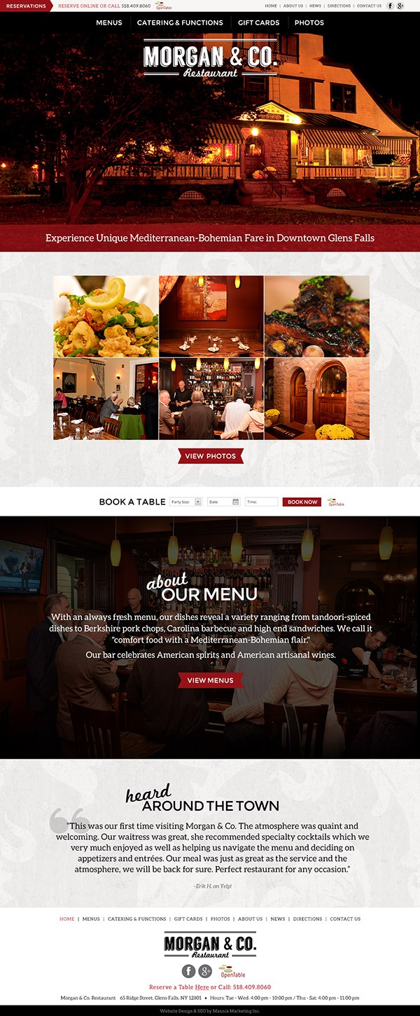 Morgan and Co. Restaurant Website Design and Development