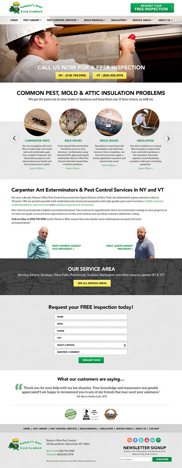 Natures Way Pest Control Website Design and Development