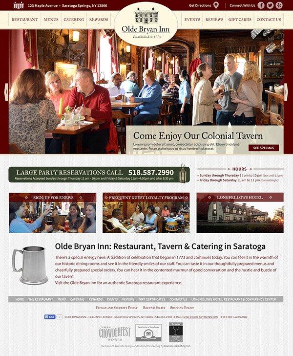Olde Bryan Inn Restaurant Website Design and Development