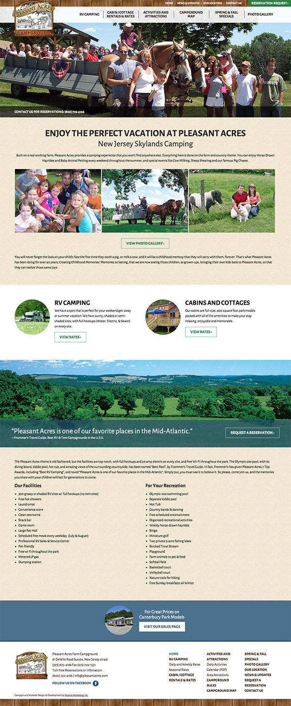 Pleasant Acres Farm Campground Website Design and Development