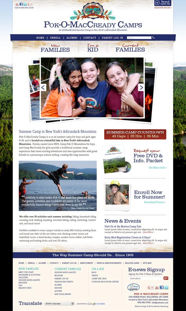 Pok-O-MacCready Camps Website Design and Development