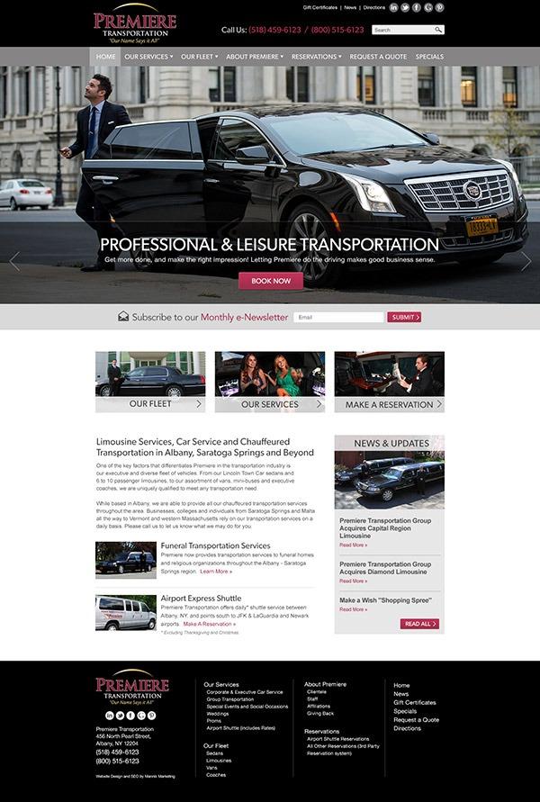 Premiere Transportation Website Design and Development