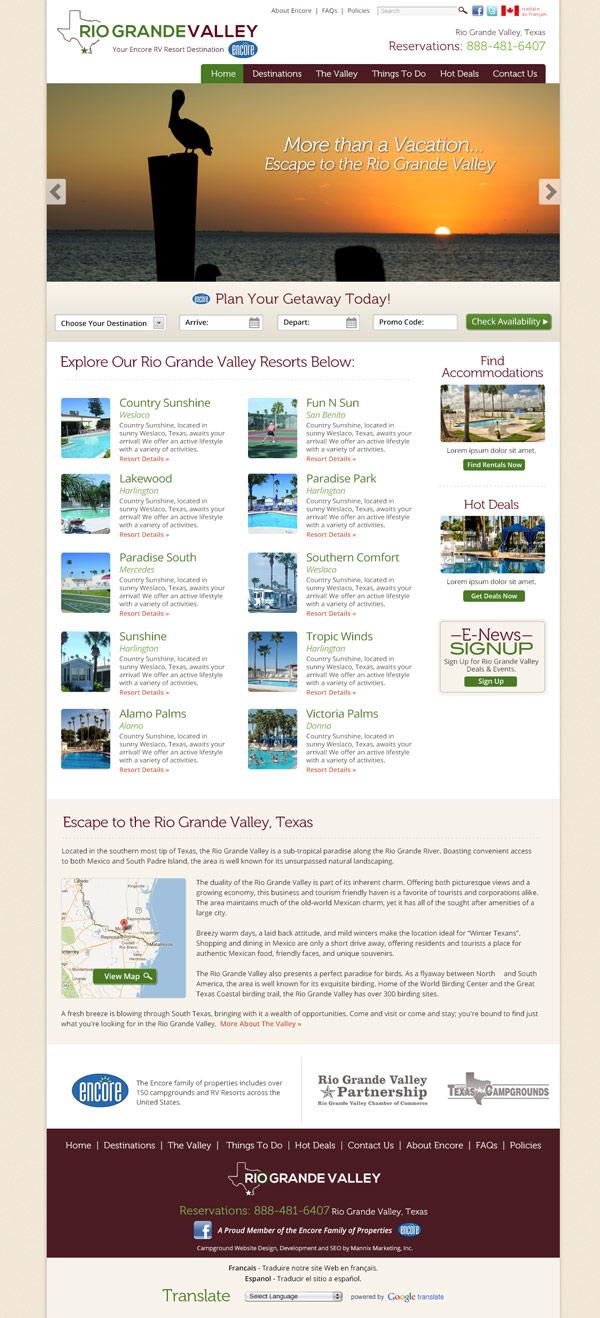 Rio Grande Valley RV Resort Website Design and Development