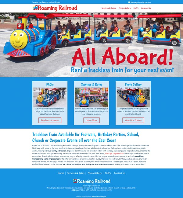 Roaming Railroad Website Design and Development